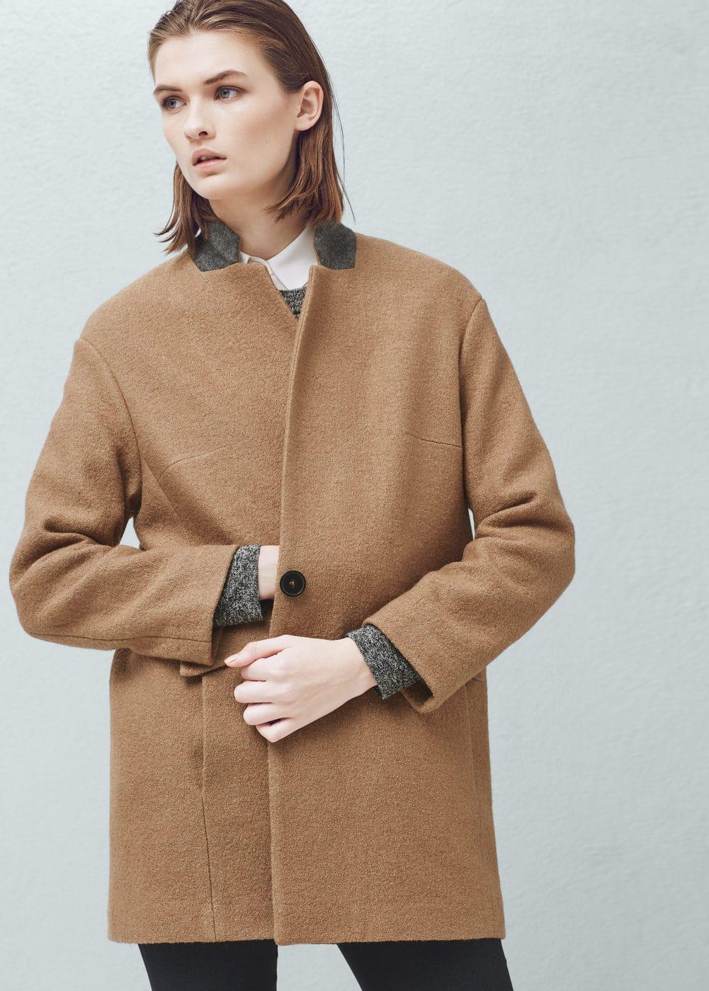 Wełniany płaszcz kokon | MANGO