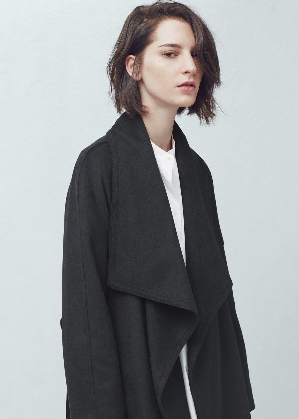 Abrigo cascada lana | MANGO