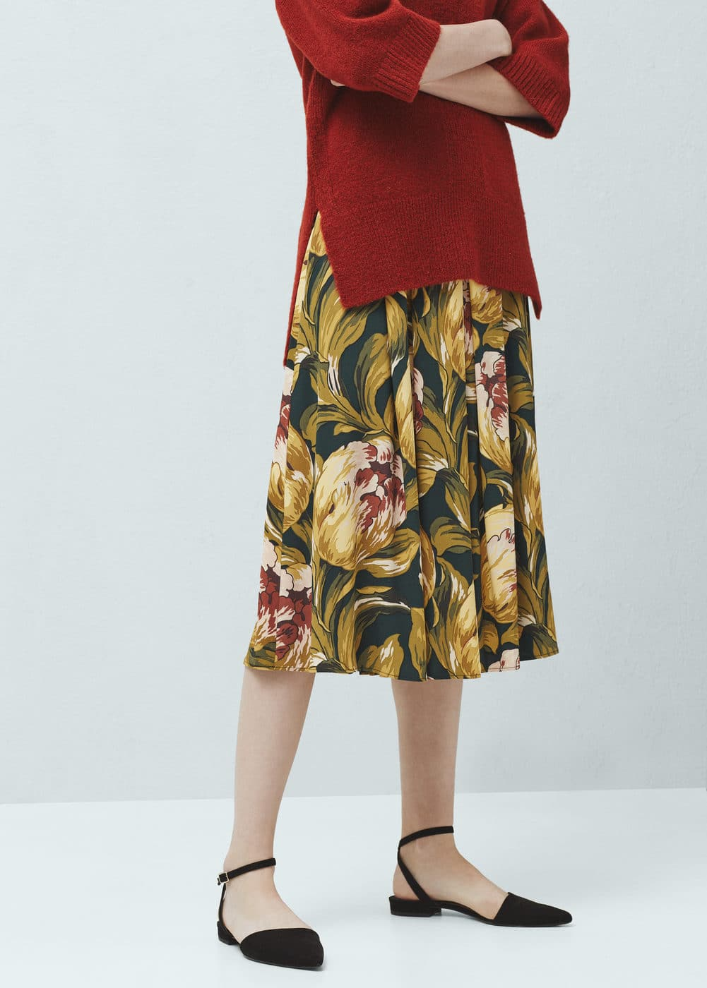 Falda midi floral | MANGO