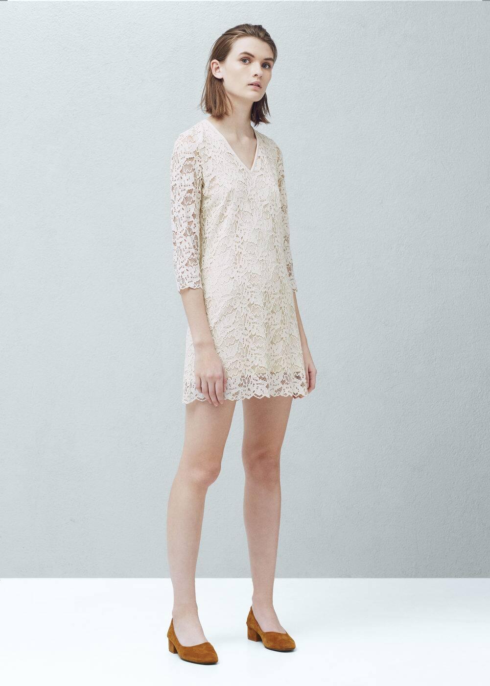 Gipiurowa sukienka | MANGO
