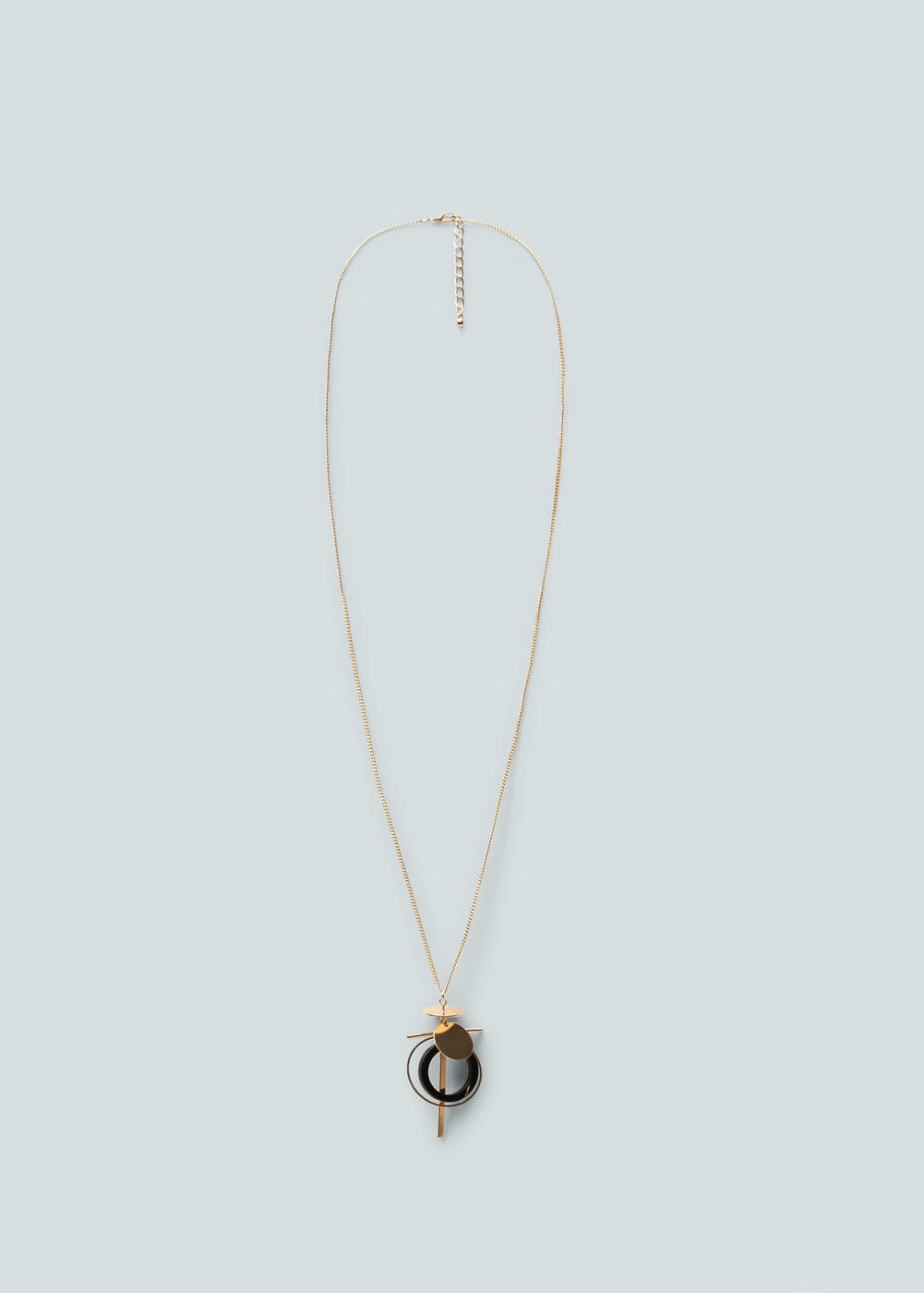 金属细链, 混合元素项链, 几何图案项链, 金属质感, 卡宾细链搭扣.