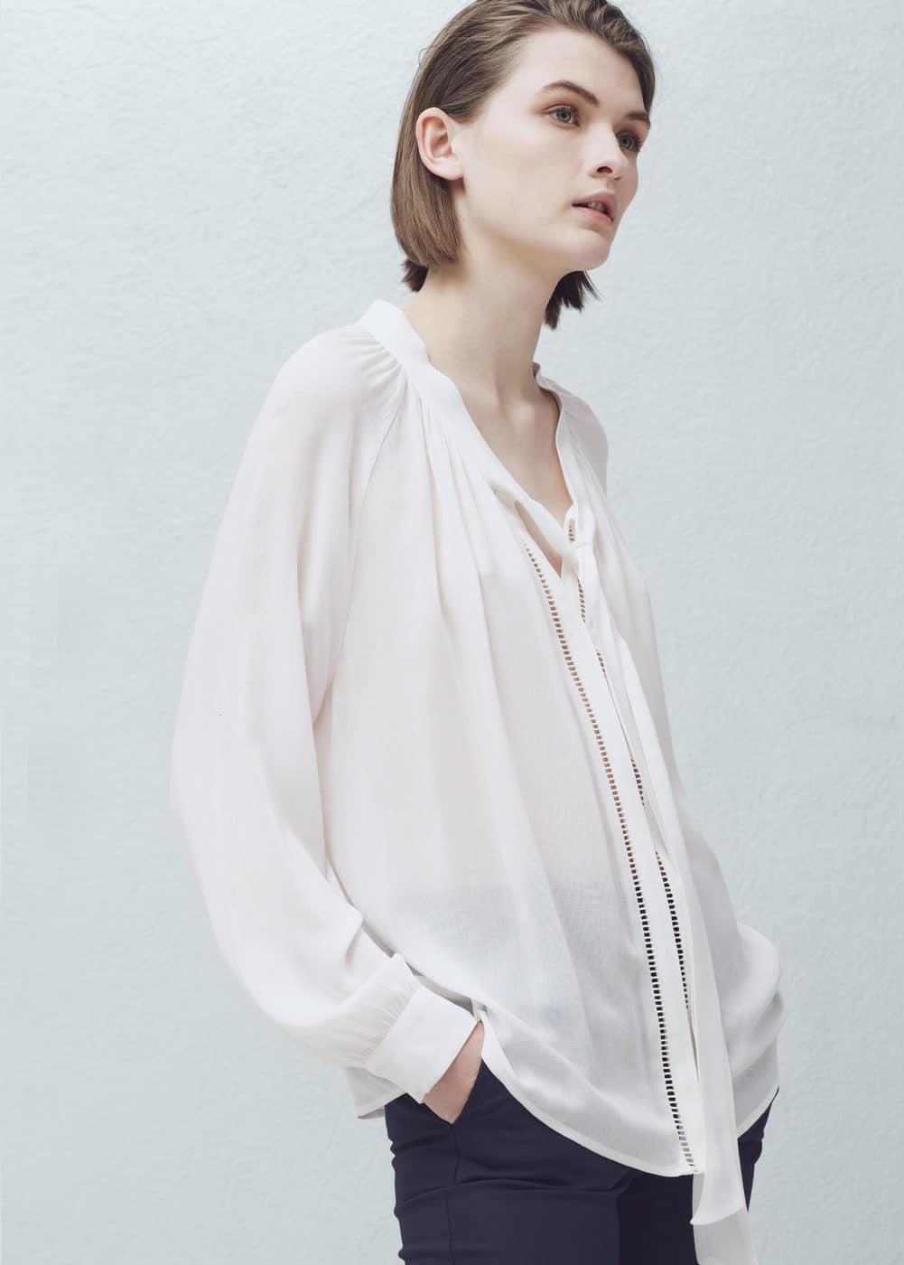 网眼饰边衬衫 | MANGO