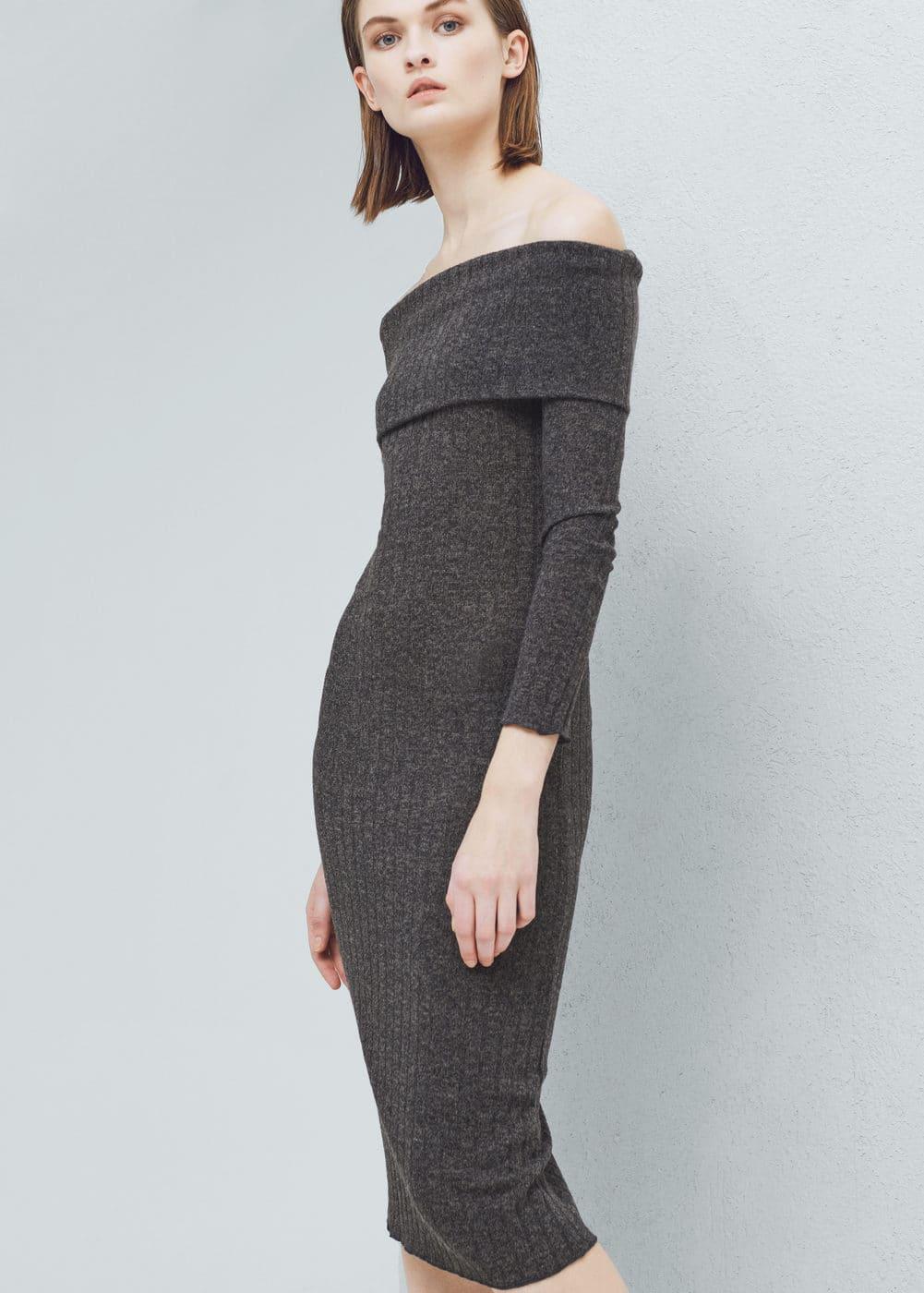 Vestido midi canelado | MANGO