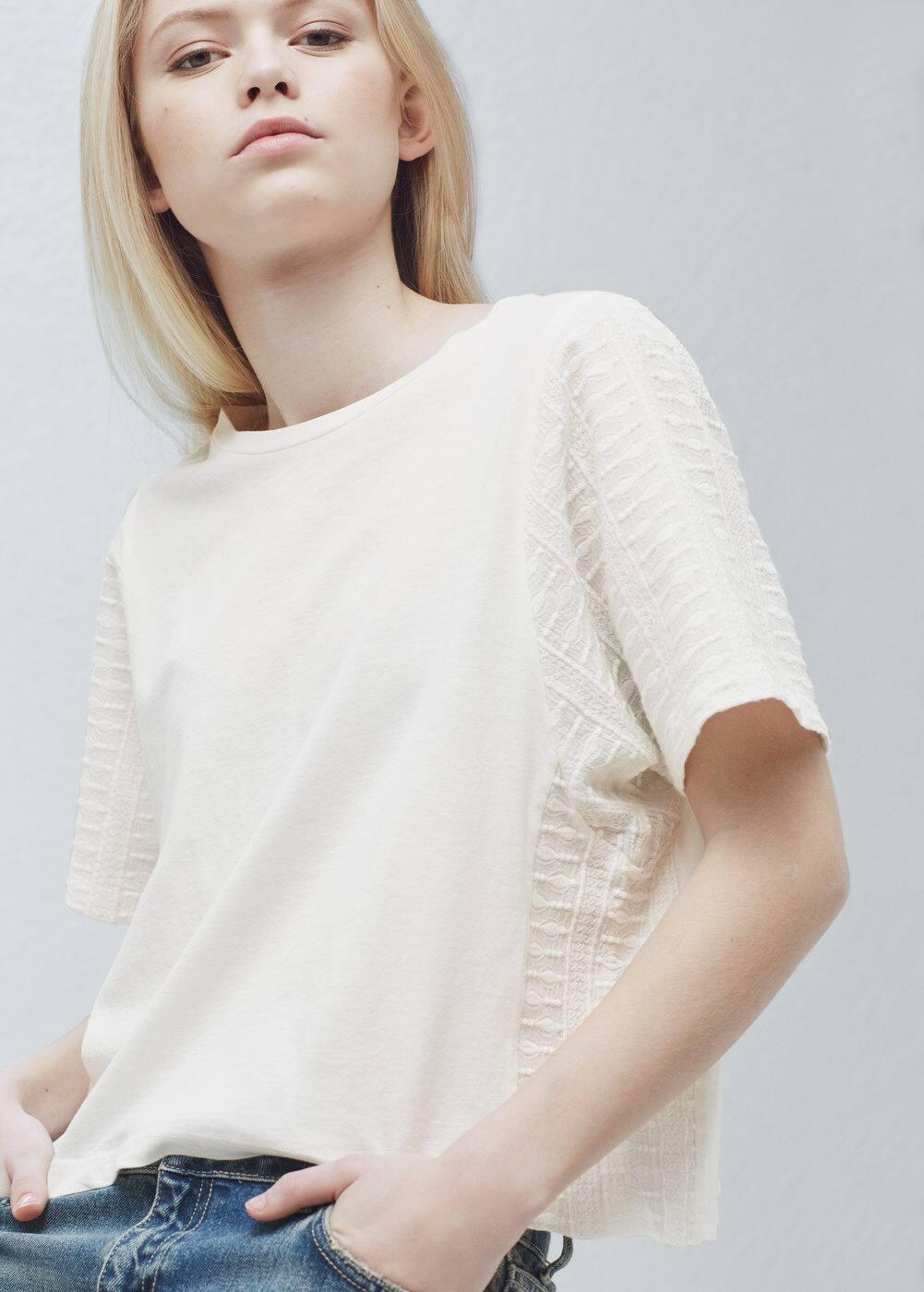 Camiseta algodón bordado | MANGO