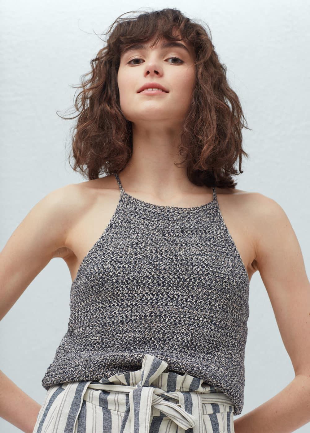 Cotton-blend knit top | MANGO