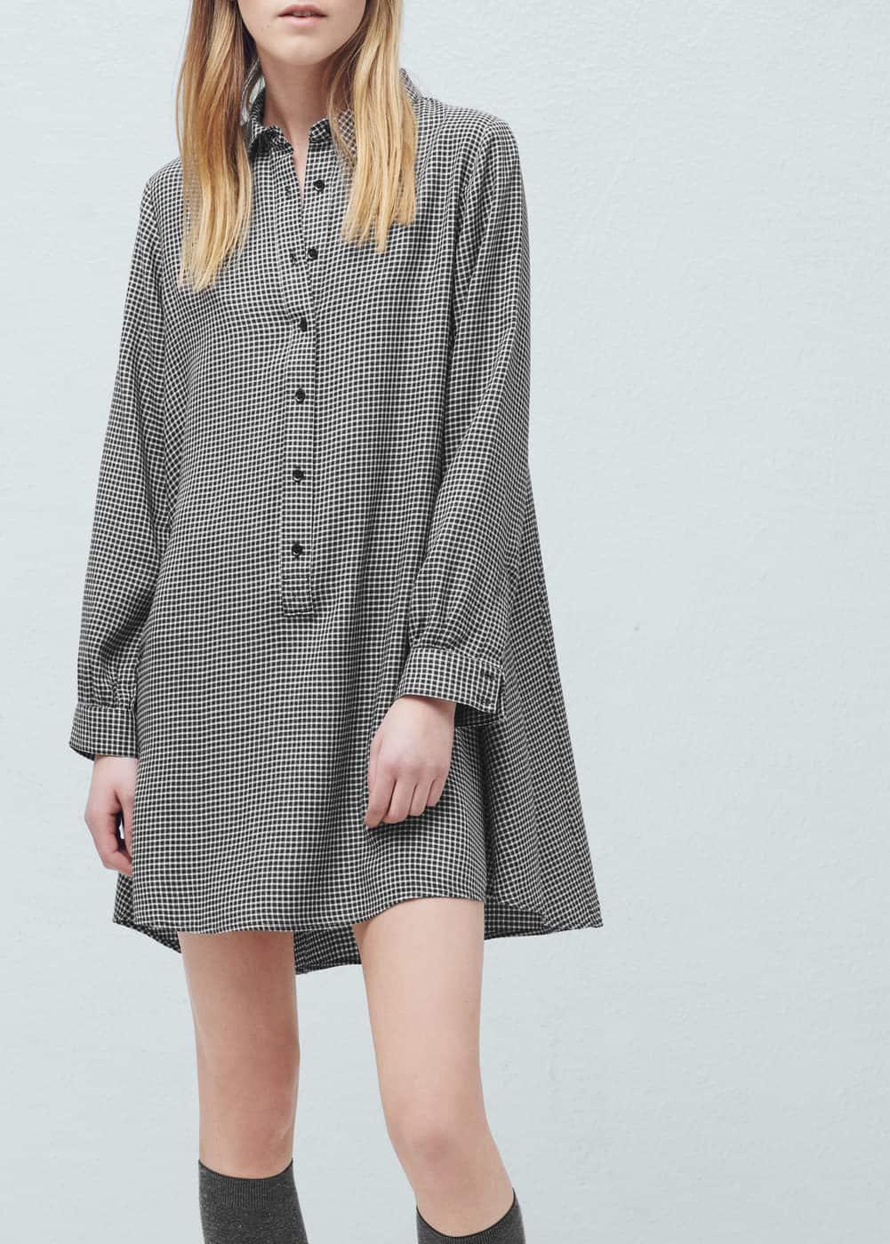 Koszulowa sukienka w kratkę | MANGO