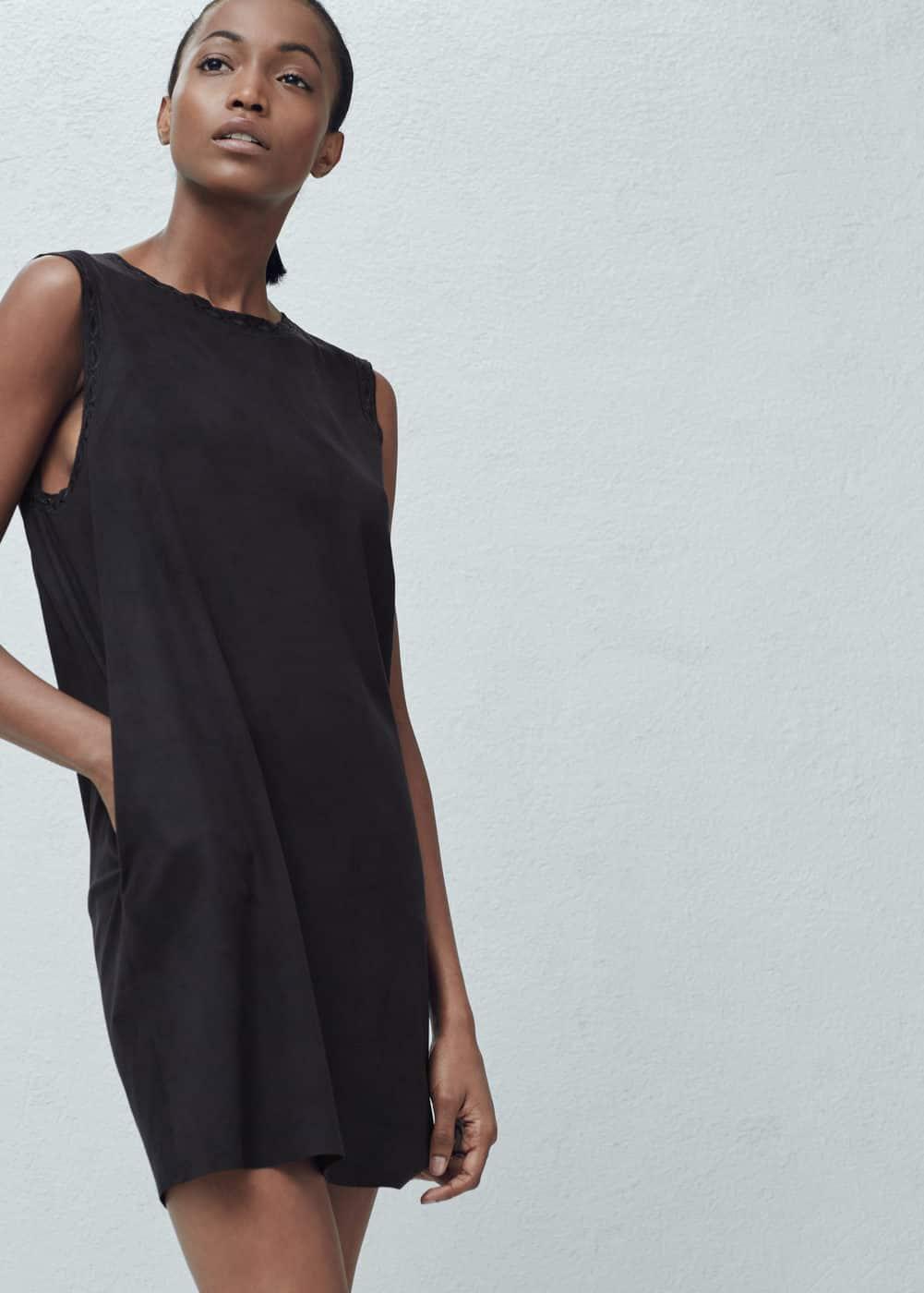 Sukienka ozdobne lamówki | MANGO
