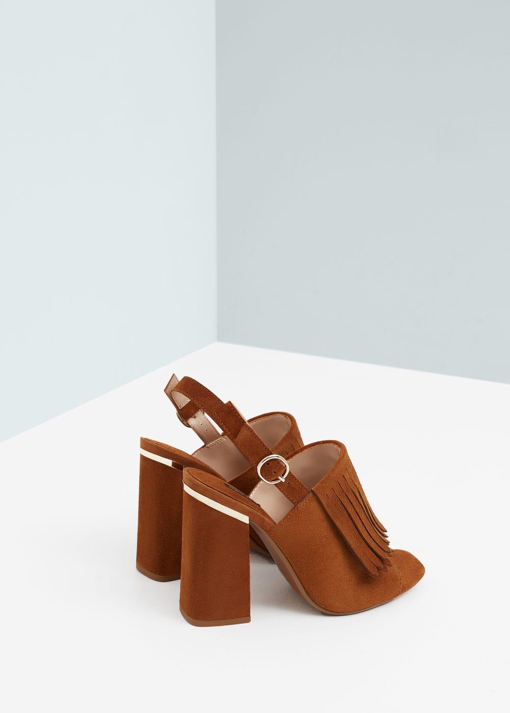 Fringe leather sandals   MANGO
