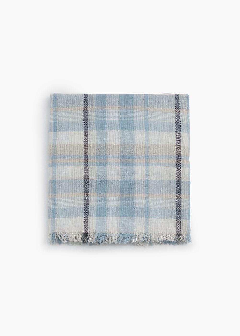 Check cotton scarf | MANGO