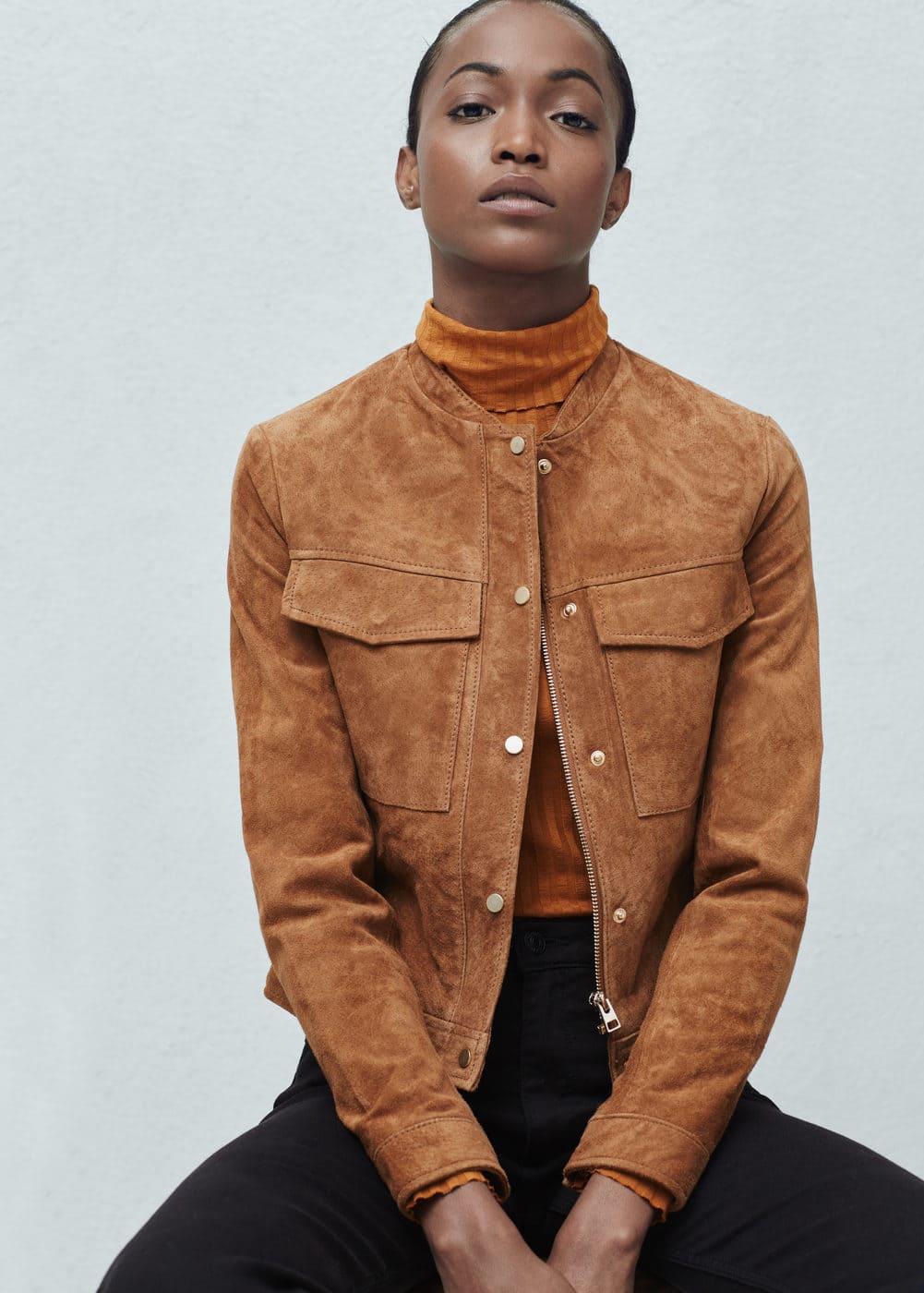 Zamszowa kurtka z kieszeniami | MANGO