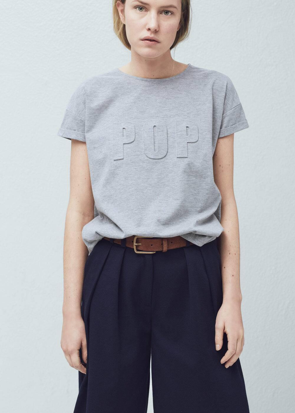 Embossed cotton t-shirt | MANGO