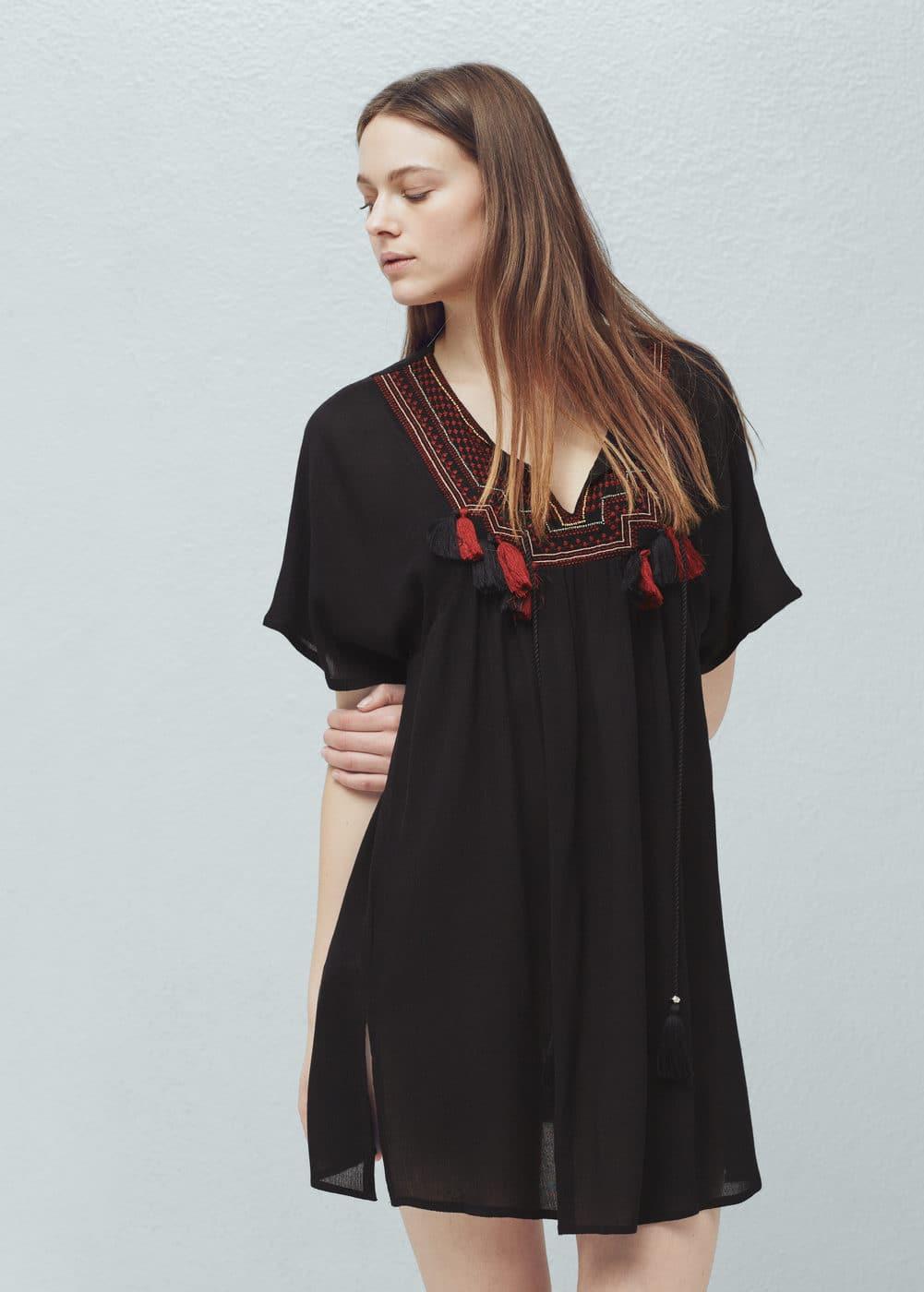 刺绣拼接连身裙 | MANGO