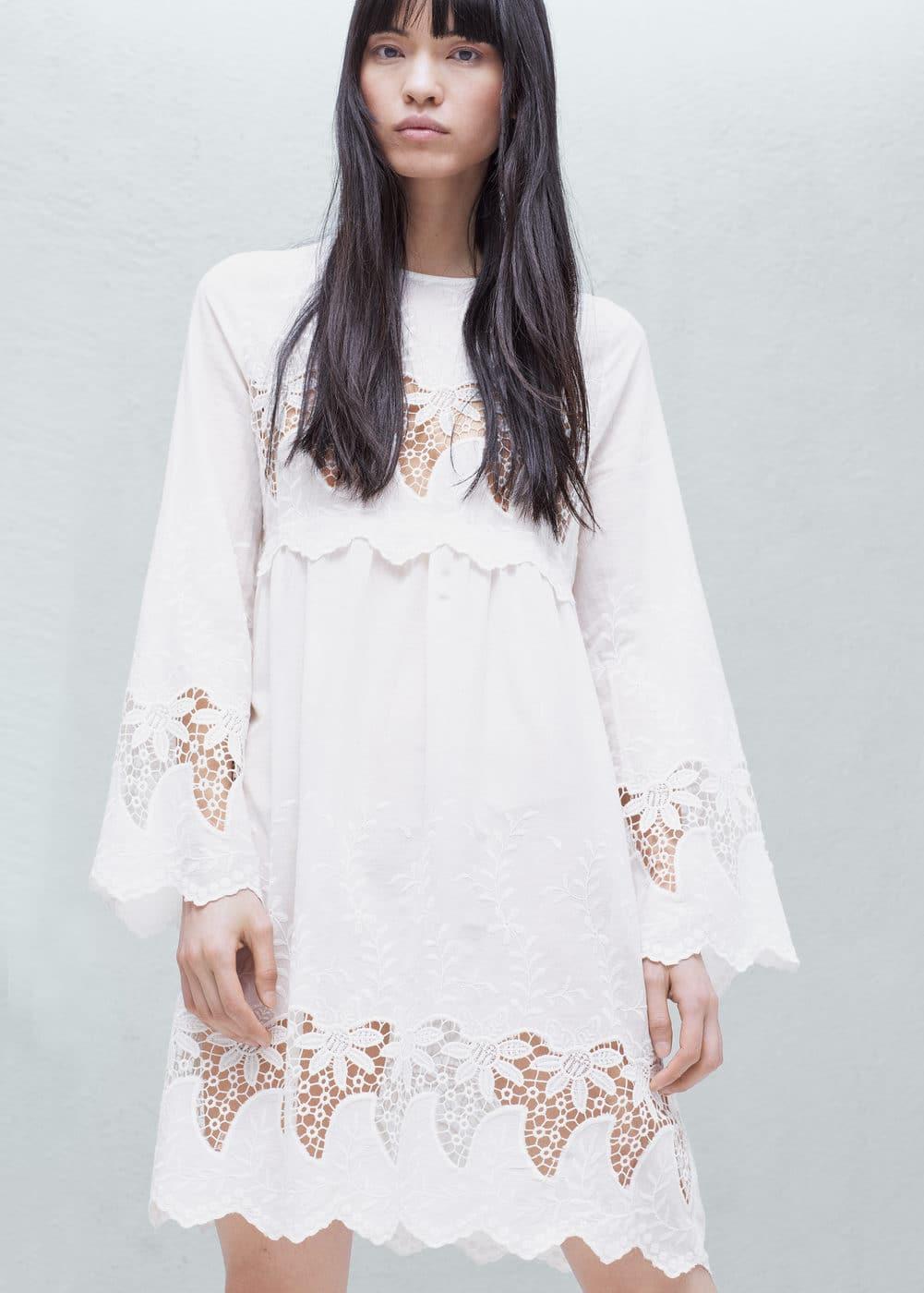 Kleid mit stickerei | MANGO