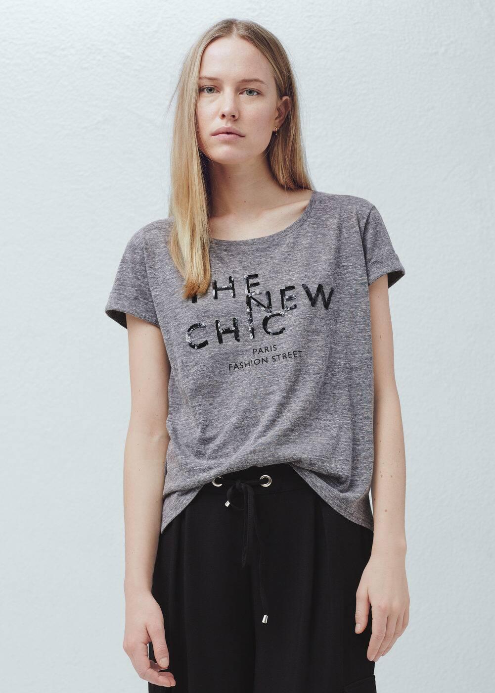 Sequined cotton t-shirt | MANGO