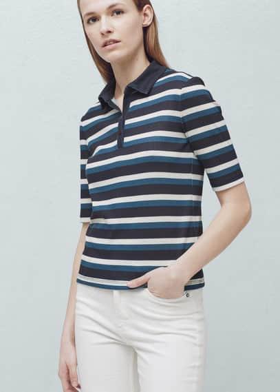 Stripe textured polo shirt | MANGO