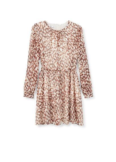 Robe Imprimée - Tissu fluide, col rond, manches longues avec poignets boutonnés, fermeture en goutte à l'arrière, doublure.