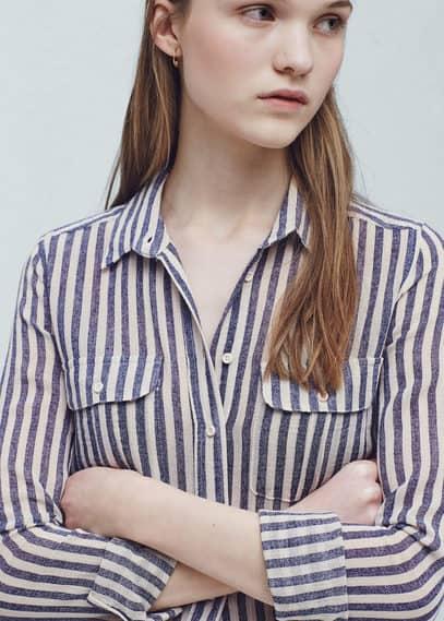 Stripes cotton shirt | VIOLETA BY MANGO