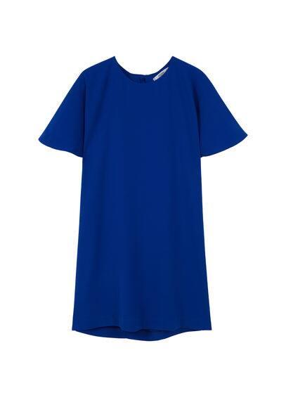 Robe Droite - Droit, col rond, manches courtes, fermeture à bouton.