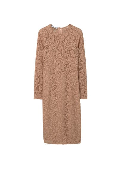 Robe Midi Guipure - Ajusté, tissu en guipure, col rond, manches longues, empiècements contrastants sur les côtés, fermeture Éclair invisible à l'arrière, doublure.