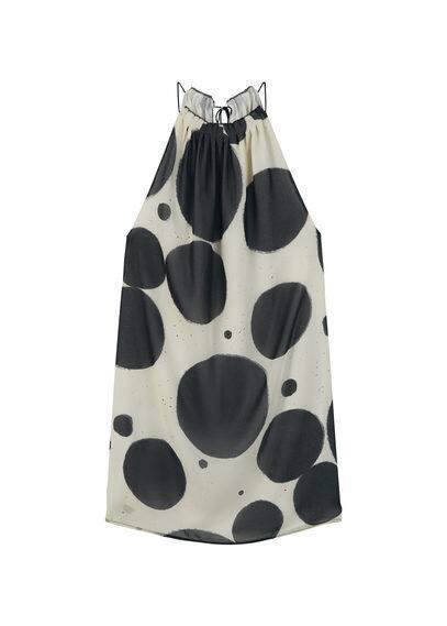 Robe Fluide Imprimée - Tissu fluide, bretelles fines, imprimé, fermeture en goutte à l'arrière, doublure.
