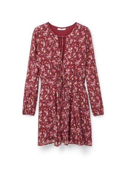 Robe À Imprimé Fleurs - Tissu fluide, col en V, cordons à nouer, manches longues, jupe évasée, doublure.