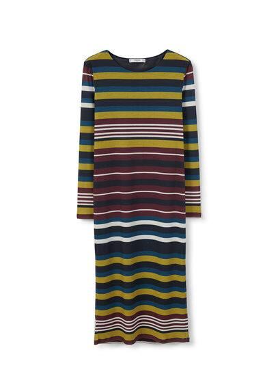 Robe Texturée À Rayures - Imprimé rayures, texturé, col rond, manches longues, doublure.