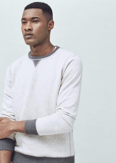 斑点棉质混纺t恤衫 | MANGO MAN