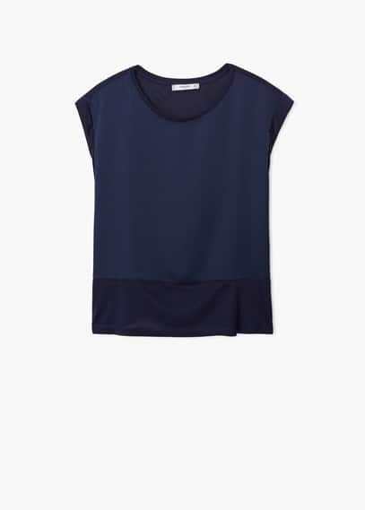 Contrast panel t-shirt | MANGO