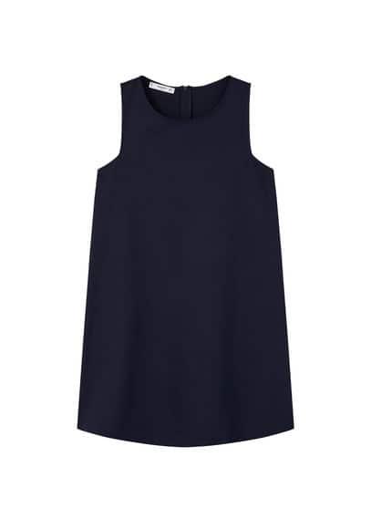Robe Droite En Coton - Tissu de coton mélangé, Col rond, Bretelles larges, Deux poches latérales, Fermeture Éclair à l'arrière
