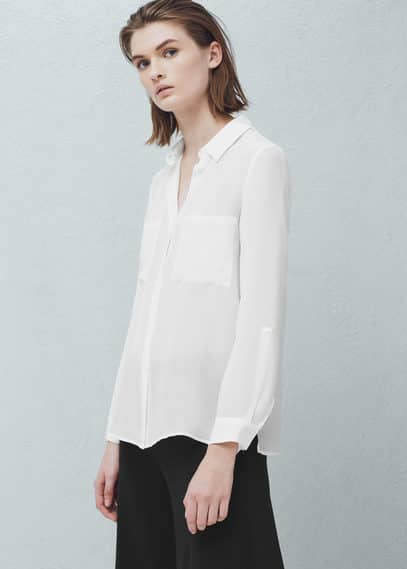 Chest-pockets silk shirt | MANGO