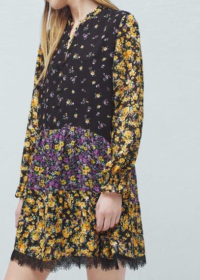 花朵印花连身裙 | MANGO