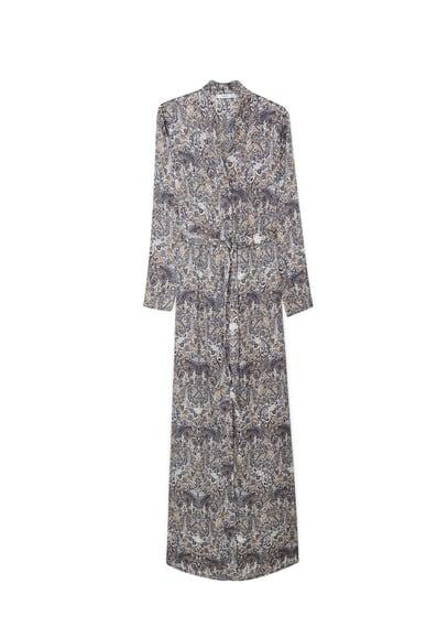 Robe Longue Imprimée - Tissu fluide, imprimé paisley, fermeture boutonnée sur le devant, manches longues, ceinture amovible à la taille, fentes latérales à la base.