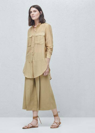 Chest-pockets silk shirt | MANGO
