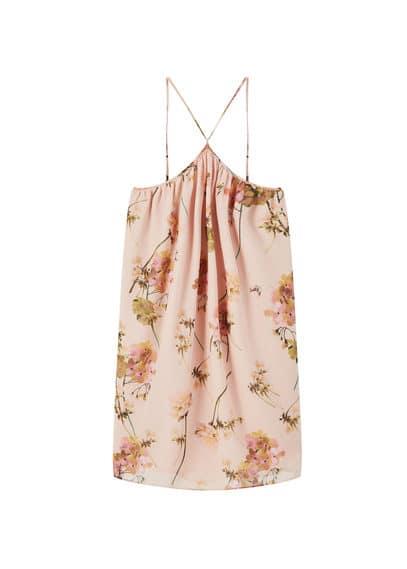 Robe Fluide Imprimée - Tissu fluide, Imprimé fleurs, Emmanchures américaines, Bretelles fines, Doublure