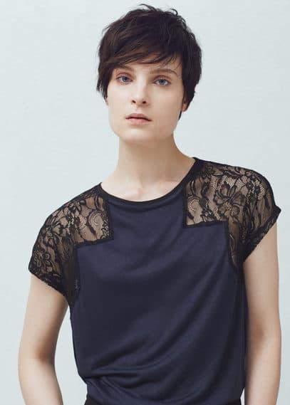 Lace sleeve t-shirt | MANGO