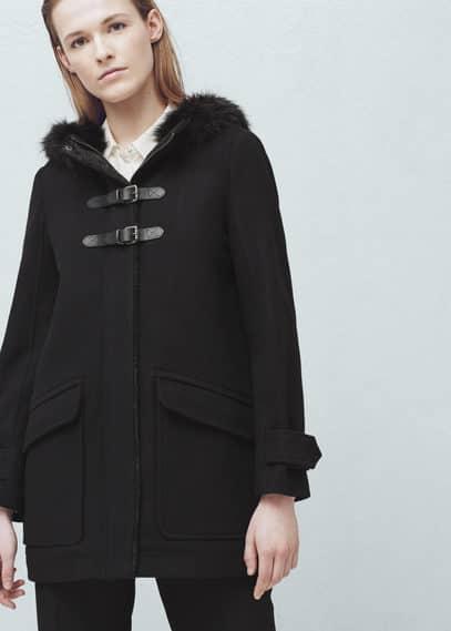 Manteau laine capuche | MANGO