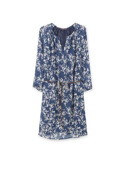 Robe À Imprimé Fleurs - Tissu fluide, col en V, cordons à nouer, manches longues avec poignets élastiques, ceinture tressée amovible, doublure.