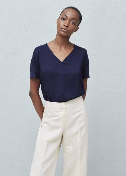 Wrap v-neckline blouse   MANGO
