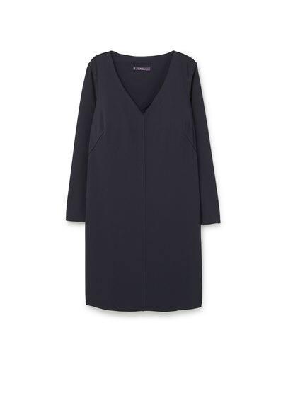 Robe Coutures Décoratives - Droit, coutures décoratives, col en V, manches longues.