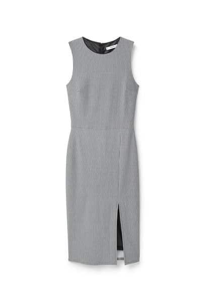 Robe Coton Fendue - Tissu de coton mélangé, ajusté, col rond, fermeture Éclair à l'arrière, fentes latérales à la base.