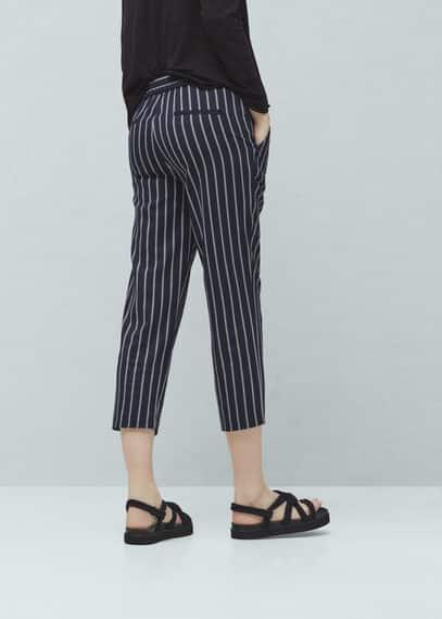 Striped crop trousers | VIOLETA BY MANGO