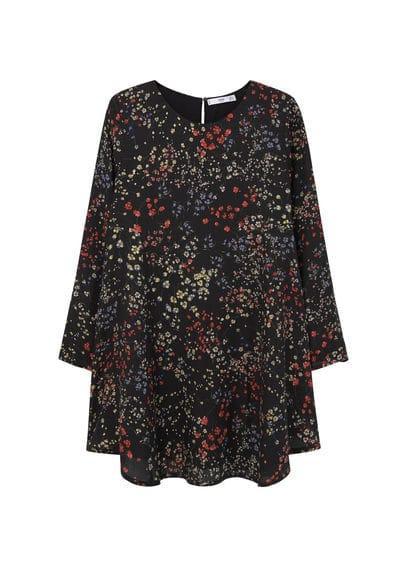 Robe À Fleurs - Tissu fluide, imprimé floral, col rond, manches longues, jupe évasée, fermeture en goutte à l'arrière, doublure.