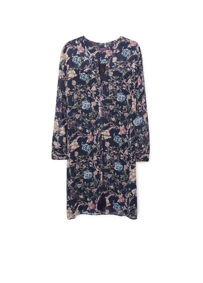 Robe Florale À Cordon - Imprimé floral, col en V, cordons à nouer, manches longues avec poignets boutonnés, doublure.