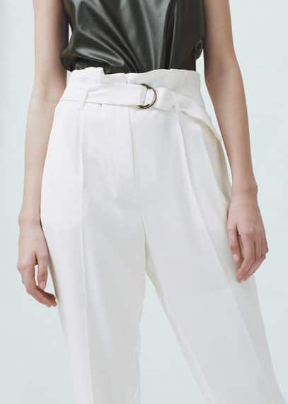 Tab-detail high-waist trousers | MANGO