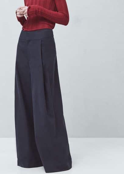 Premium - flared cotton linen-blend trousers | MANGO