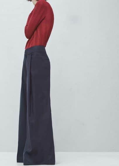 Premium - pantalon lin coton évasé | MANGO