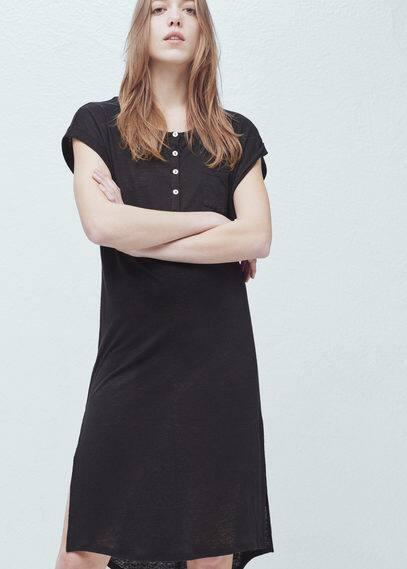 Button linen-blend t-shirt | MANGO