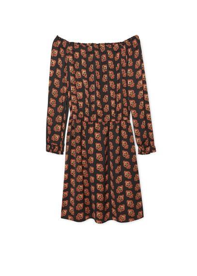 Robe Fluide Imprimée - Tissu fluide, imprimé, col bateau, manches longues avec poignets élastiques, taille élastique.