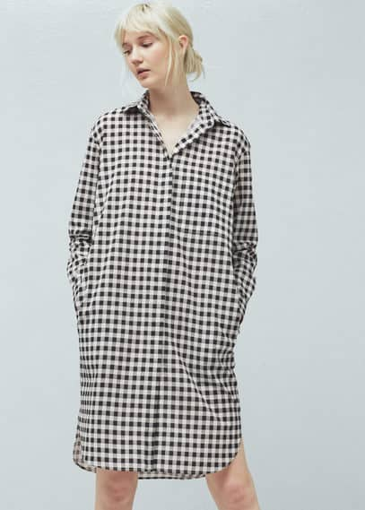 Two-tone cotton dress | MANGO