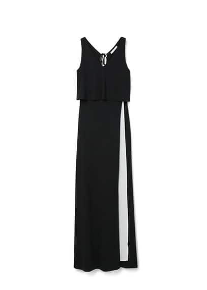 Robe Longue Bicolore - Bicolore, col en V, détail d'ouverture, cordon décoratif au dos, doublure.